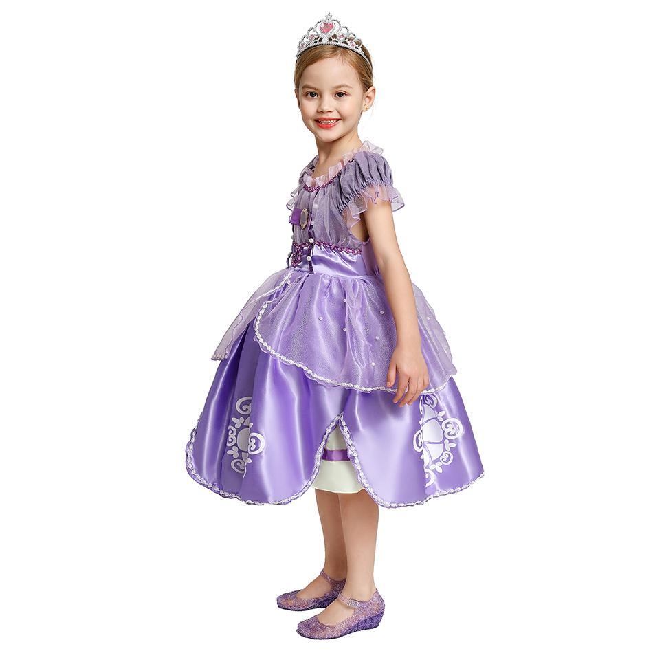 Жемчуг Бисероплетение Принцесса София платье для девочек сетки лифа clothers платья бального Первой партии косплей костюм ребенок Хэллоуин Outfit