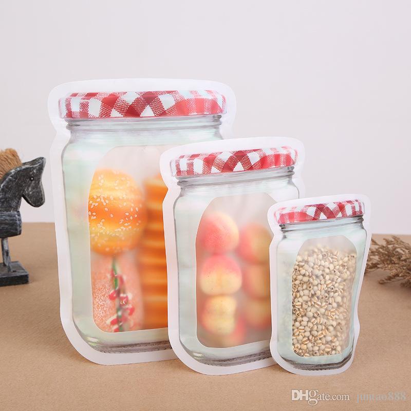 Mason Jar Creative-Selbstdichtende Beutel PE-Plastiktaschen Mason Flaschen-Form Lebensmittel-Verpackungs-Beutel Saver Küche Organisator-Beutel