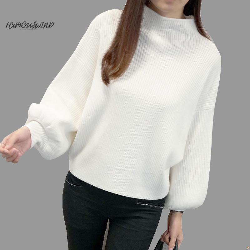 새로운 여성 스웨터 패션 터틀넥 배트 윙 슬리브 스웨터 긴 소매 느슨한 니트 스웨터 여성 점퍼 탑 겨울 좋은 품질