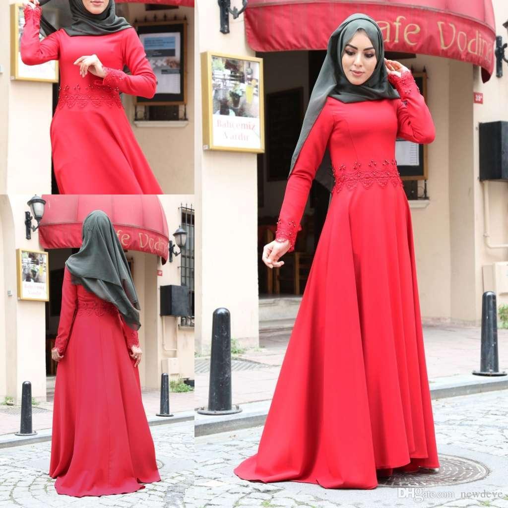 Vestidos de Noite muçulmano 2019 Mais Recente Projeto de Mangas Compridas de Cetim Formal Hijab Islâmico Dubai Kaftan Arábica Árabe Vestido de Festa de Desgaste do baile de finalistas
