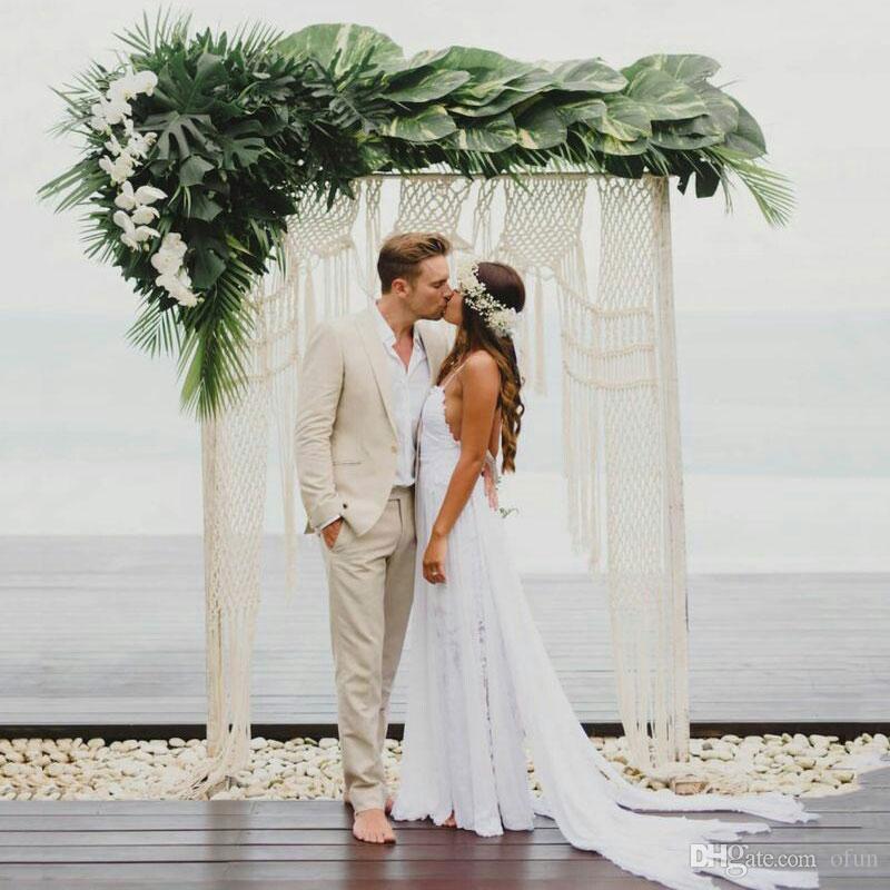Latest Design Summer Beach Ivory Linen Men Suits for Wedding Groom Wedding Tuxedo Costume Mariage Homme Slim Fit Terno Masculino