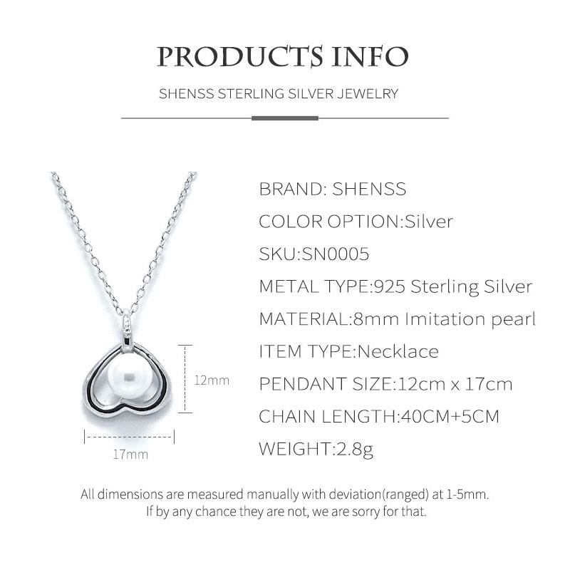 Silver 925 Jewelry Classic Sweet Love Pearl S925 Sterling Silver Necklace for Women