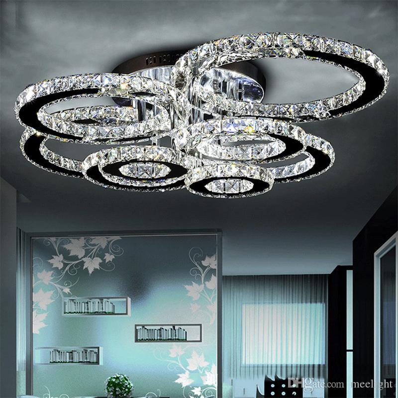 LED moderne Lustres lumière en acier inoxydable Lampe en cristal pour vivre Chambre diamant Anneau LED Plafonnier Lustres lampara techo colgante