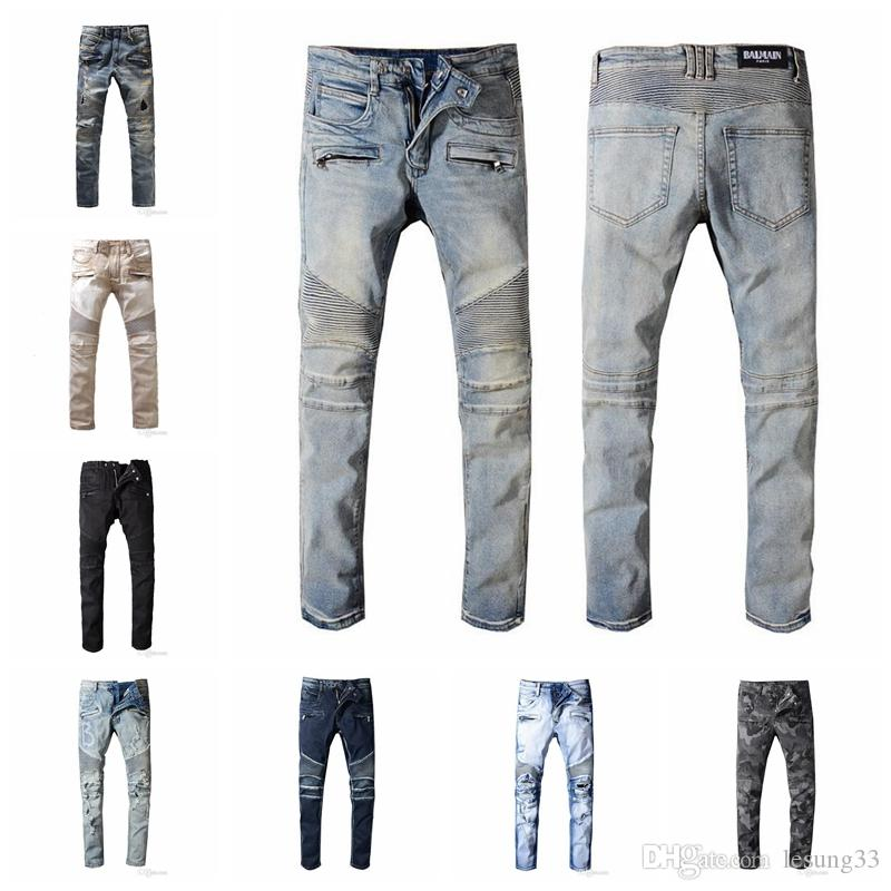2019 BalmainMen Distressed Ripped Biker Jeans Slim Fit Motorcycle Biker Denim For Men Fashion Designer Hip Hop Mens Jeans