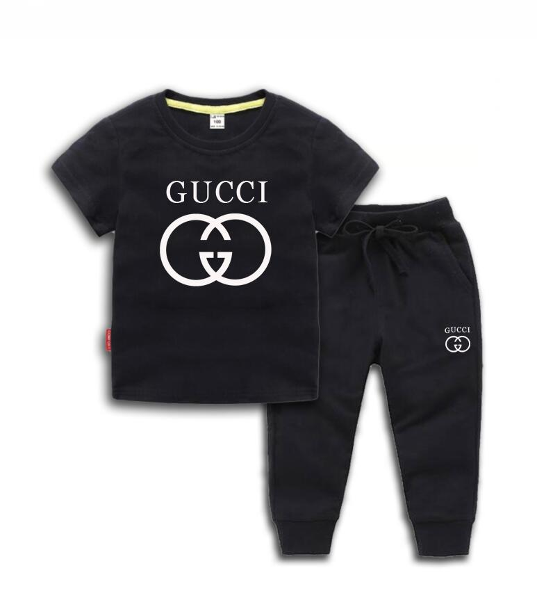 HOT SELL New Fashion Apparel Logo de luxe Designer Boy Pants T-shirt Set enfants Marque Enfants 2 Piece coton Set enfants 2-7 ans