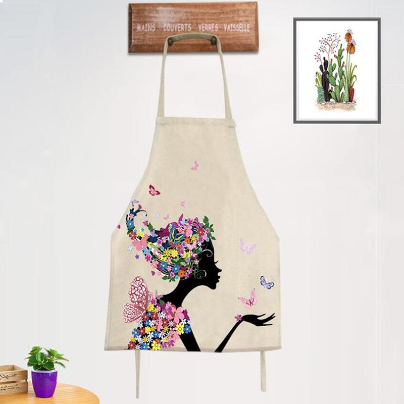 Girl Flower Butterfly Printed Kitchen Aprons Women Home Cooking Baking Waist Bib Home Cleaning Aprons Pinafore