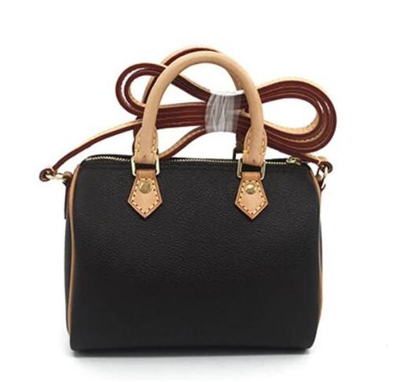Hot SCHNELLE Schulter M61252 nette Handtasche Leder Schulter TURENNE Quertaschen 16cm Weibliche NANO Noe Eimer braune Blumenminikissen cluch BAG