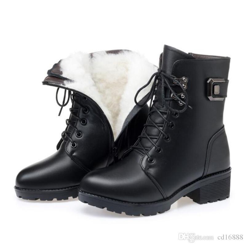 2019 зимние сапоги из натуральной кожи Martin Boots плюшевые теплые ботинки мода комфорт нескользящие женские сапоги снегоступы большого размера