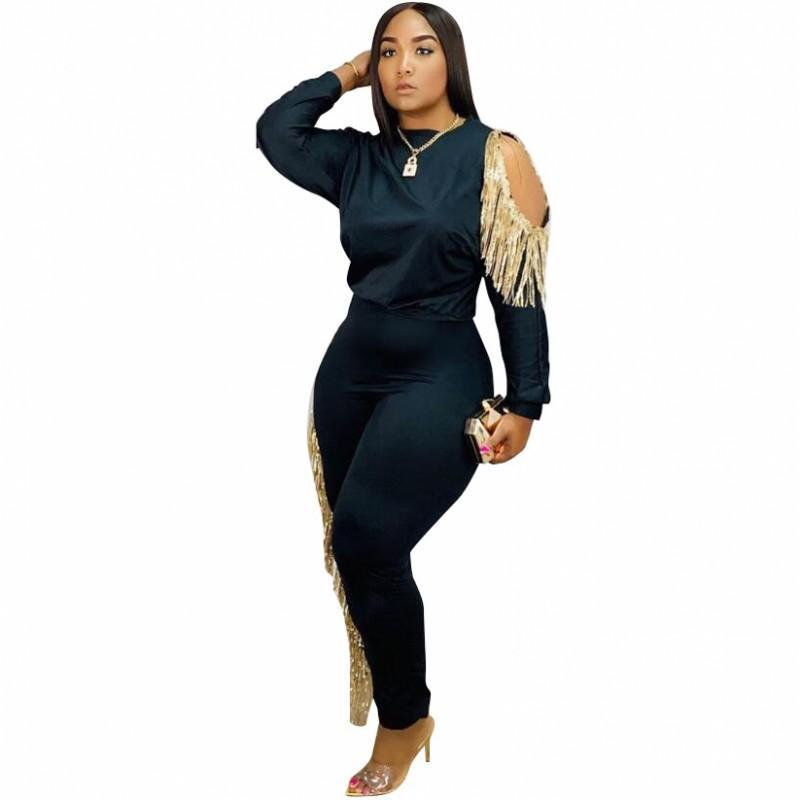 Spring Autumn Women 'S Set Tracksuit O Neck Full Sleeve Top Pants Suit Tassel Two Piece Set Casual Night Club Outfits Size S-2XL
