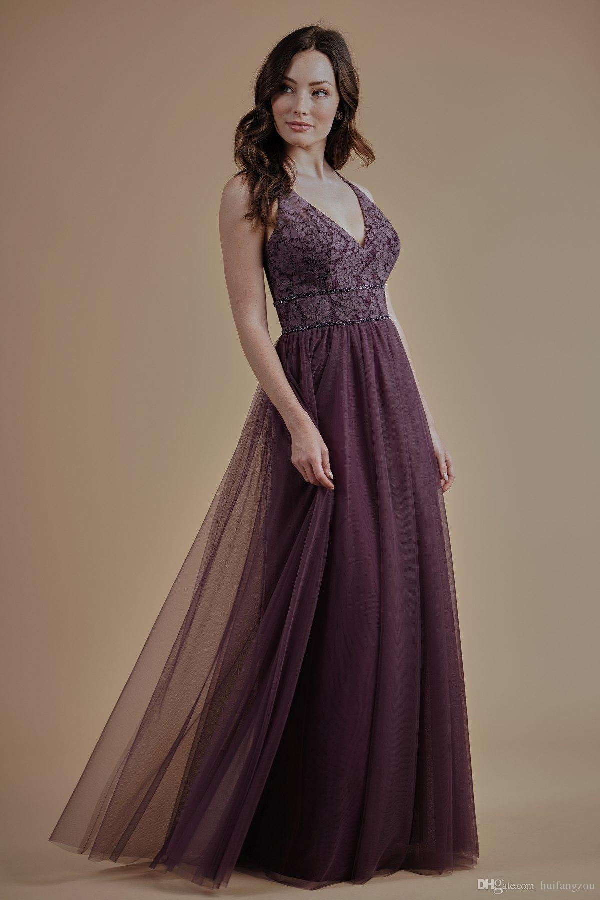 레이스 V 넥 신부 들러리 드레스와 비즈가없는 얇은 명주 그물 바닥 길이 댄스 파티 드레스 이브닝 가운 여성 공식 마모