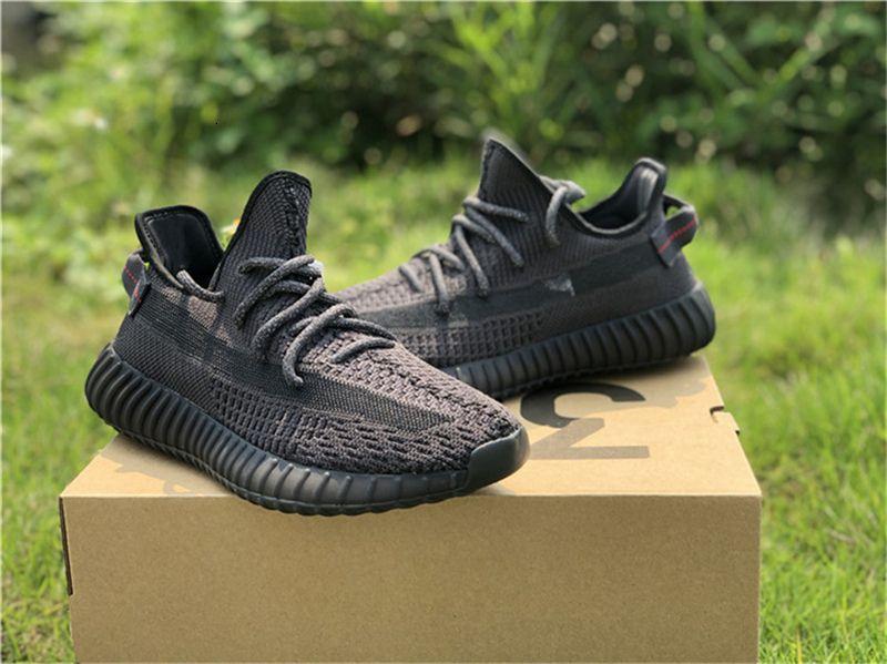 2019 350S auténticos V2 Negro Fu9161 Kanye West Hombre Mujer Zapatos atléticos Gid brillan en la oscuridad Eh5360 Clay Limited zapatillas de deporte con la caja