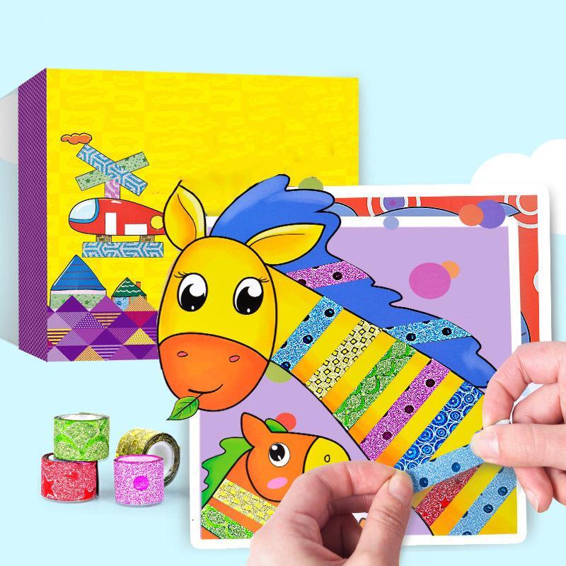 10 Pçs / caixa Crianças Cor Fitas Brinquedos Feitos À Mão Crianças Criativas Fitas Etiqueta Brinquedo Com Animais Dos Desenhos Animados Desenho Artesanato Kit Presente J190521