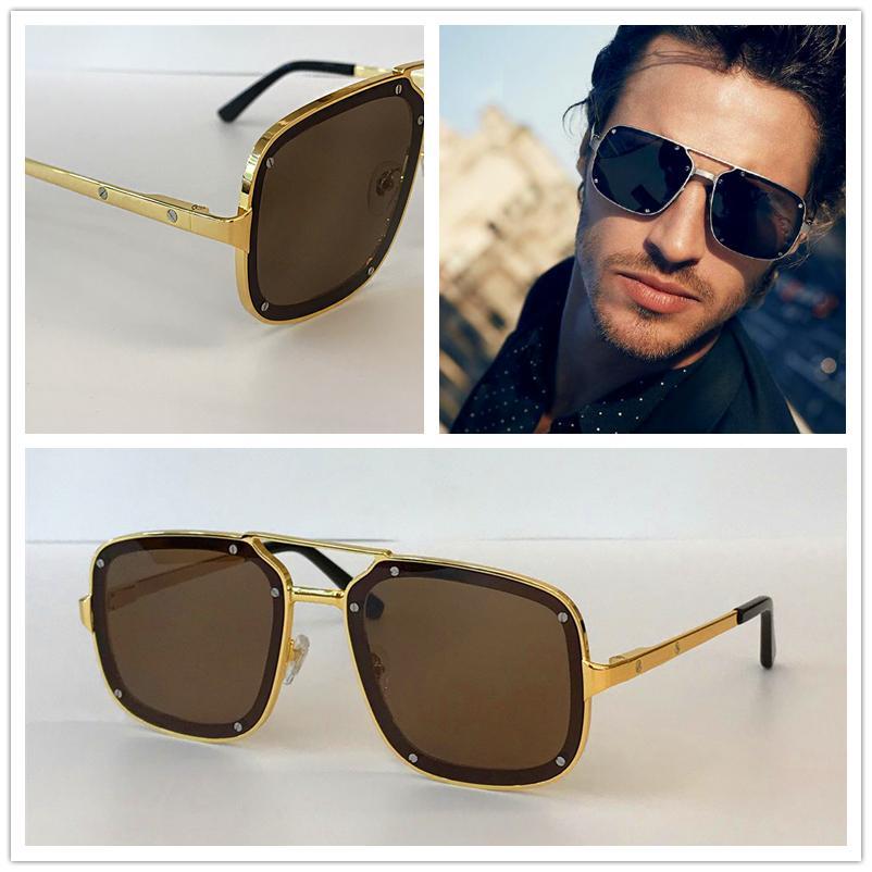 Retro de lujo del diseñador del Mens oro de las gafas zonnebril mujeres de los hombres de la vendimia de lujo de gafas de sol de la Plaza de la marca de moda gafas sin montura de cristal