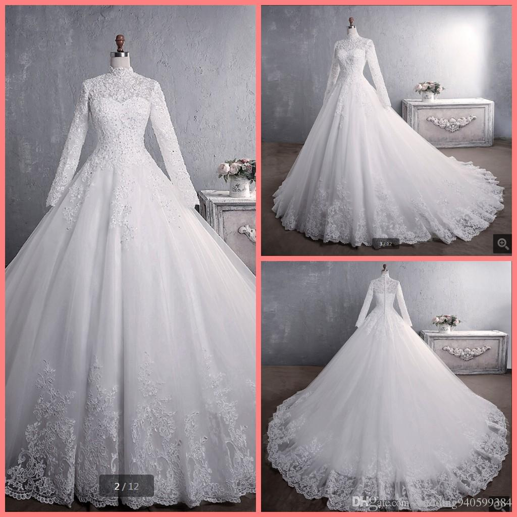Vestidos De Noiva Bride Dress 2019 Ball Gown Princess Lace Muslim Wedding Dress Long Sleeve Vintage Hijab Wedding Dress 2019 best selling