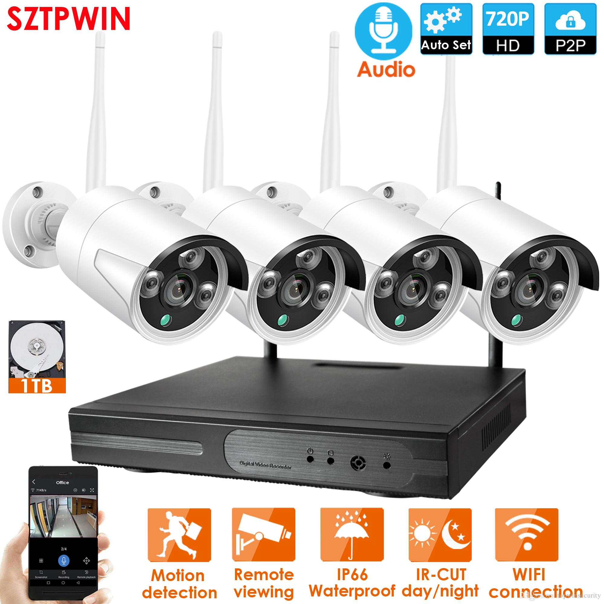 4CH الصوت نظام الدوائر التلفزيونية المغلقة 720P اللاسلكية NVR 4PCS 1.0MP IR في الهواء الطلق P2P واي فاي IP CCTV نظام الأمن كاميرا مراقبة كيت المضمن 1TB HDD