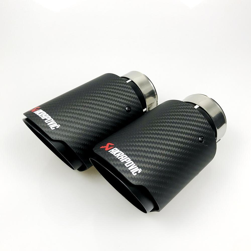 شحن مجاني أسود عالمي مختلف الأحجام akrapovic ألياف الكربون سيارة العادم الخمار تلميح مستقيم ماتي + أسود المغلفة