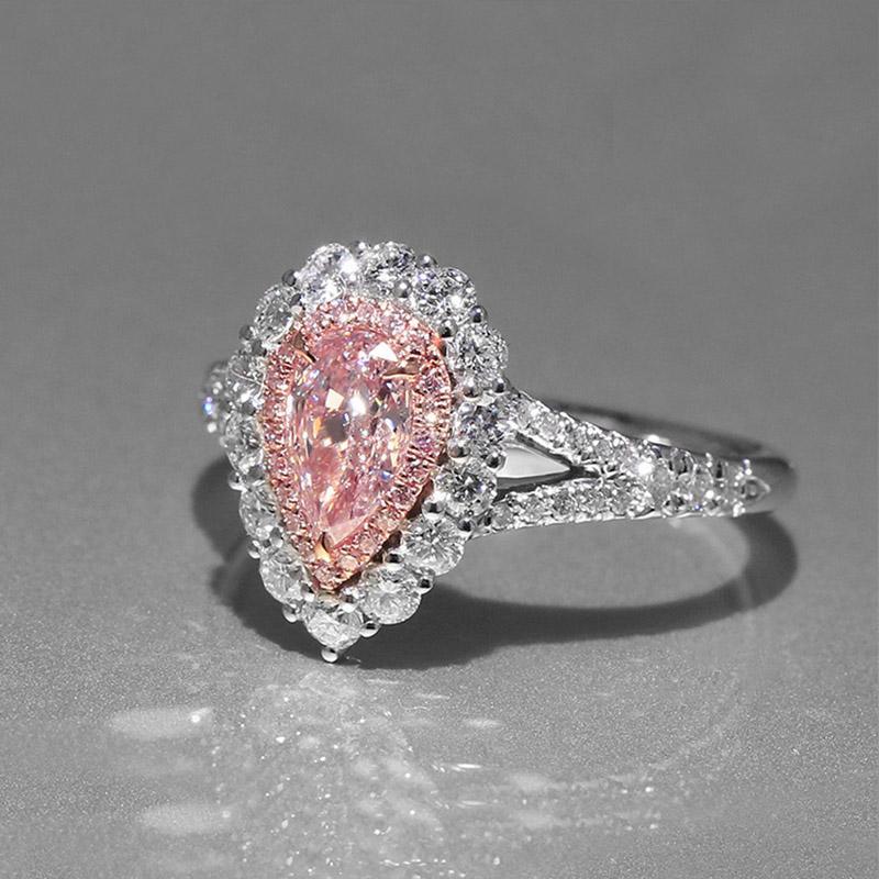 Rosa Teardrop CZ-Diamant-Hochzeits-Geschenk RING Sterlingsilber 925 überzog Tropfen Wasser Verlobungsringe Kleinkasten-Set für Frauen