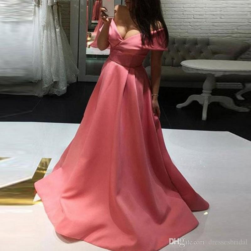 Vestido Longo A Line Long Pink Prom Gowns abiti da cerimonia da sera Robe De Soiree V Neck Evening Dress Elegant abiye