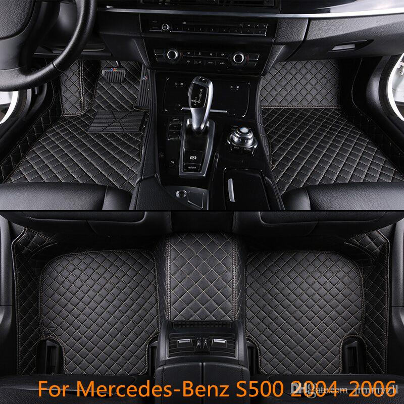 Luxury Waterproof Skidproof Man-Made Front & Rear Liner Leather Car Floor Mats For Mercedes-Benz S500 2004-2006