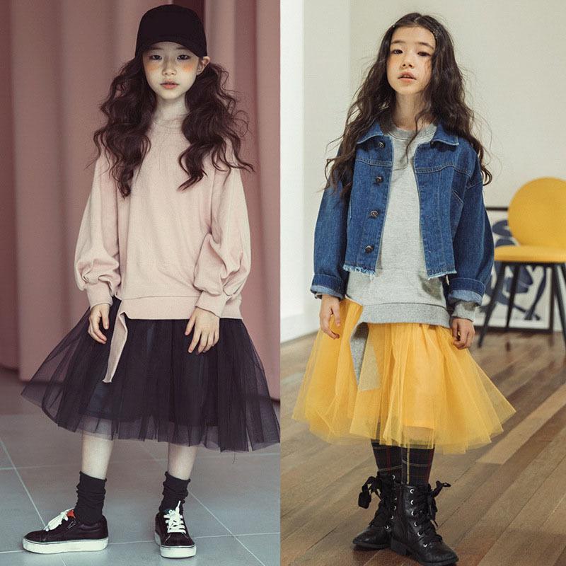 lange Patchwork Pullover modische Kleider für Mädchen Herbst Kinder gerade Kleid Babys Winter Teenager kleiden Kleidung Netz