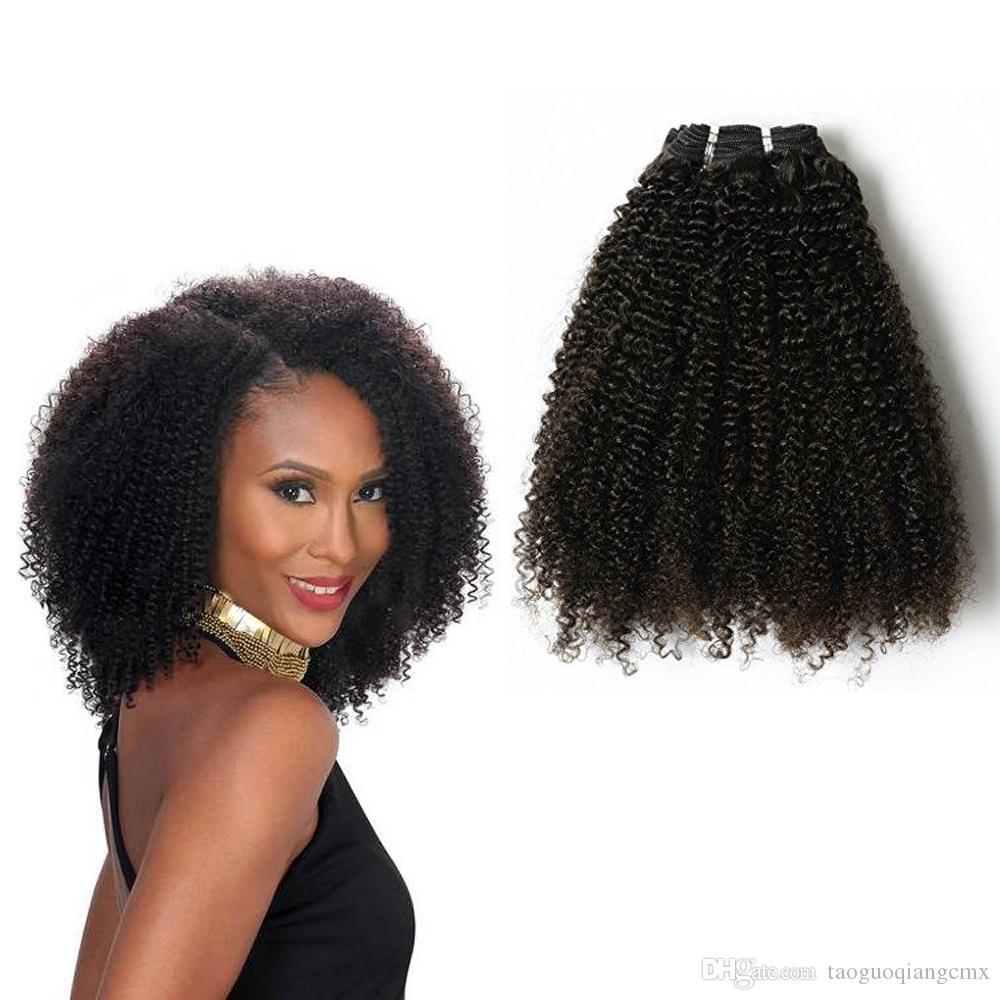 Brasiliano mongola capelli umani del Virgin clip di 4c afro ricci attraente sui capelli naturali nero 10-22inch Remy indiano 7pcs dei capelli / set 1set / lot