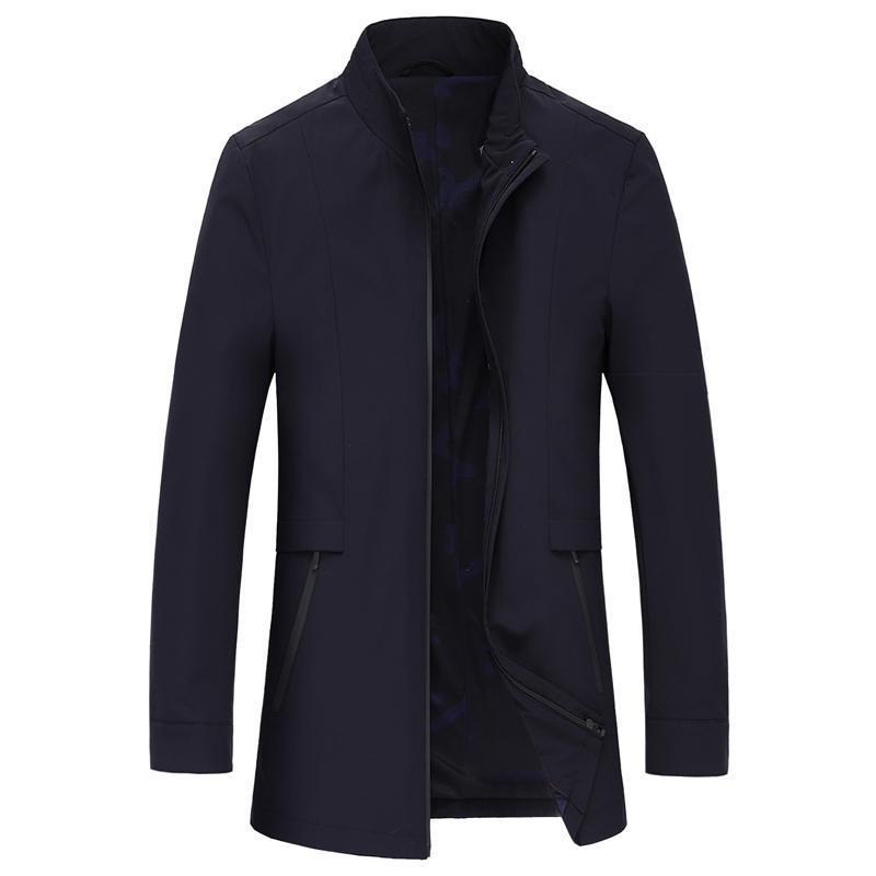 2018 mode hommes debout manteau trench col des hommes de haute qualité coupe-vent d'entreprise manteaux vestes Casual veste classique Homme