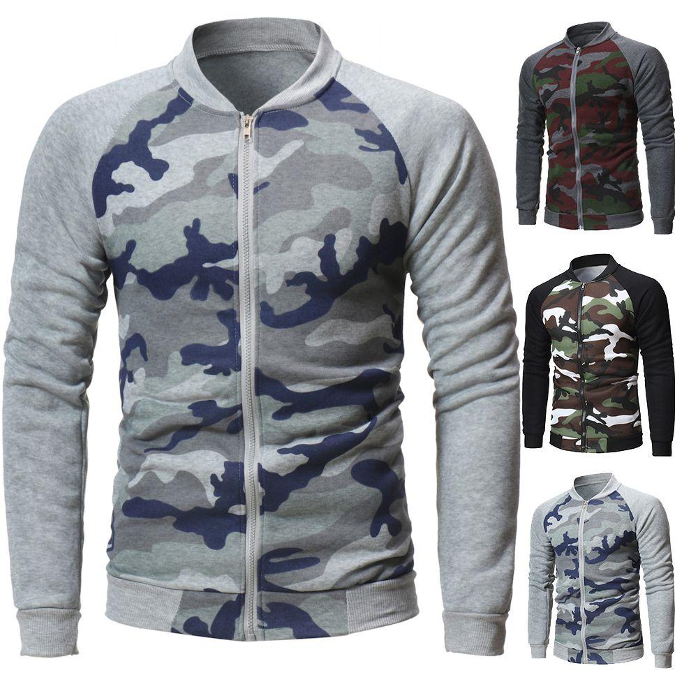 2019 Mens Clothes Designer Sweaters Mens Hoodies Skateboards Camouflage Hoodie Slim Stand Collar Streetwear Pullover Sweatshirt Sweater