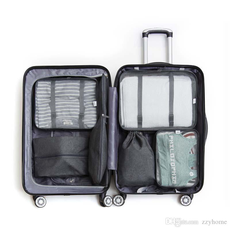 7pcs / set ropa interior de Viaje Bolsas de almacenamiento con asas de la maleta del equipaje Oxford Ropa interior Zapatos de lavado bolsa de almacenamiento bolsa de almacenamiento