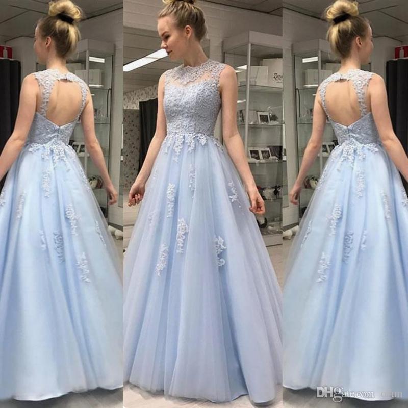 Элегантный голубой тюль платье выпускного вечера линии без рукавов с открытой спиной аппликации кружева длиной до пола халаты де вечер