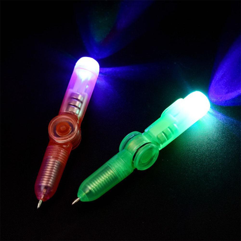 дешевые пластиковые мини красочные вспышки гироскоп вращается LED Light Pen творческий многофункциональный дети LED ручной спиннер непоседа игрушки ручка случайный цвет