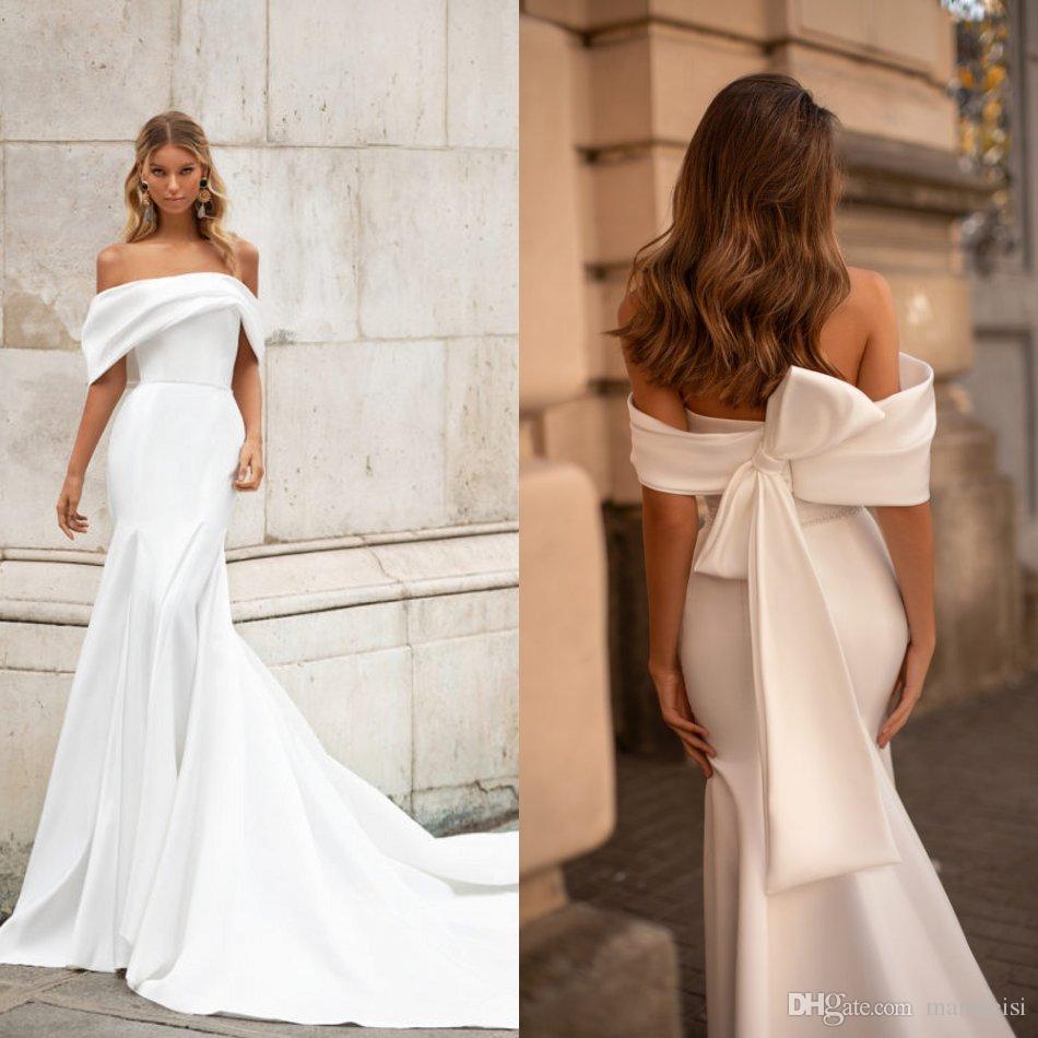 Milla Nova Mermaid 2020 Wedding Dresses Simple Satin Beaded Off The Shoulder Bow Back Bridal Gowns Sweep Train Robe De Mariée