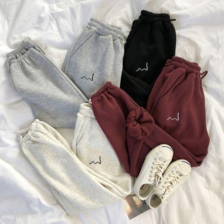 Inverno Casual Donne Harem Stripes all'ingrosso ricamo pantaloni della tuta Grigio Nero pile confortevole Pants