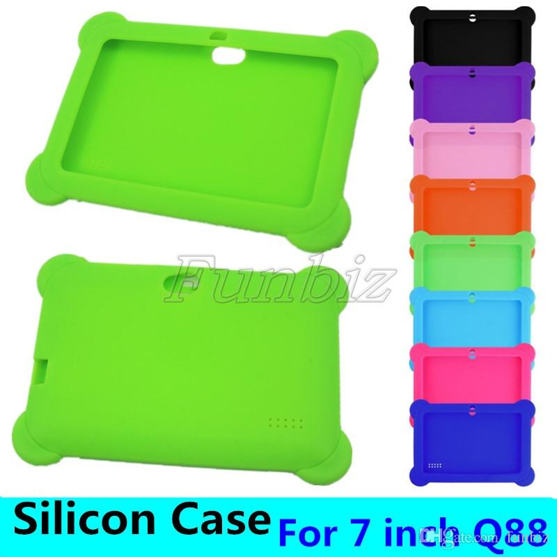 Kids Soft Silicone Rubber Tablet PC Case For 7 Inch Q88 Anti-dust Drop Resistant Protective Cover