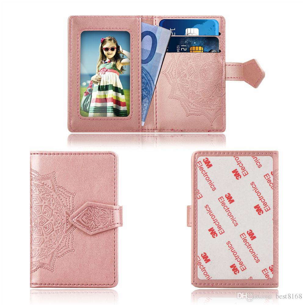 Universal Back Phone Card Slot 3M Sticker Leather Stick On Wallet Cash ID Credit Card Holder For iPhone XS MAX XR X Note9 Flower Datura Case