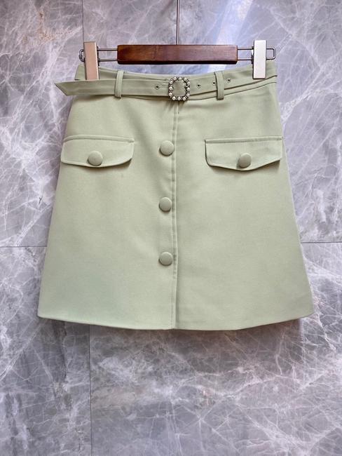2020 Spring and Summer New Women's Buckle Belt Waist Hugging Decoration Symmetrical Pocket All-match Skirt 528