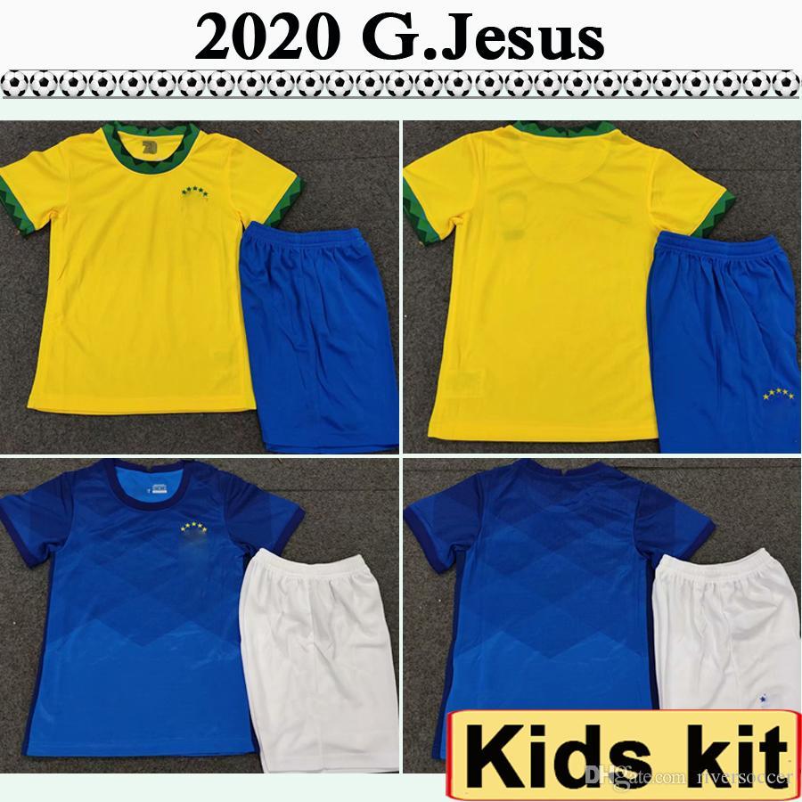 2020 Kit P. G. COUTINHO JESÚS embroma los jerseys PAULINHO D.COSTA Inicio camisas ausentes del fútbol de la manga Brasil MARCELO COUTINHO corto determinado del niño