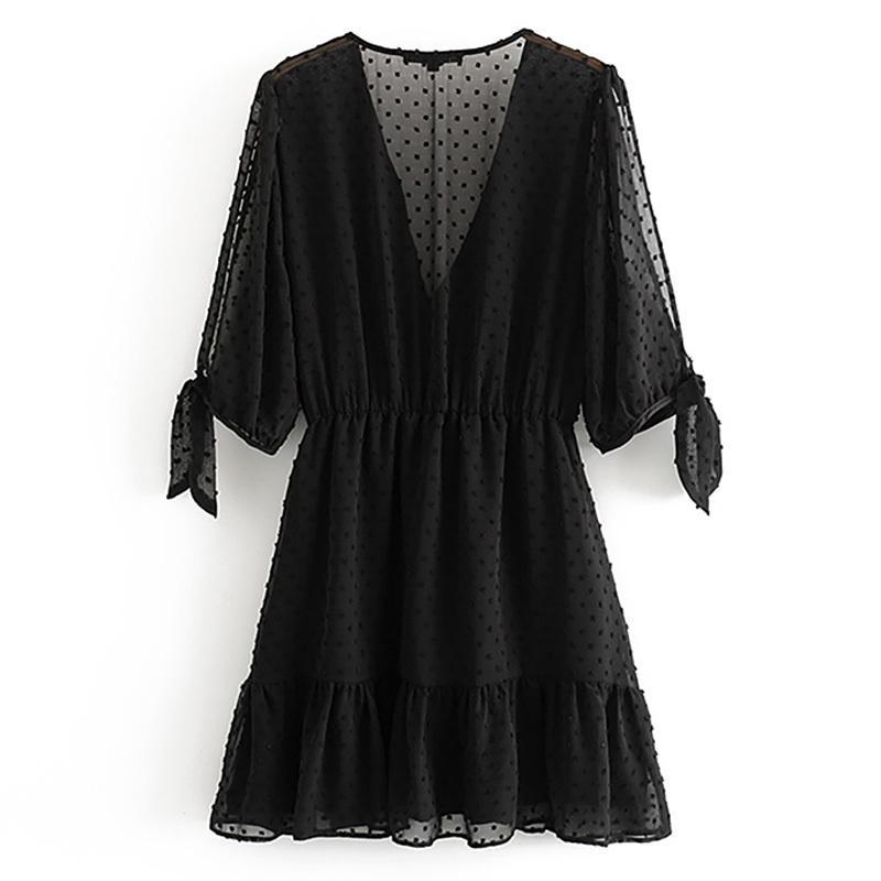 Лето сексуального глубокое платье шеи через три четверти женского шлема черного пальто