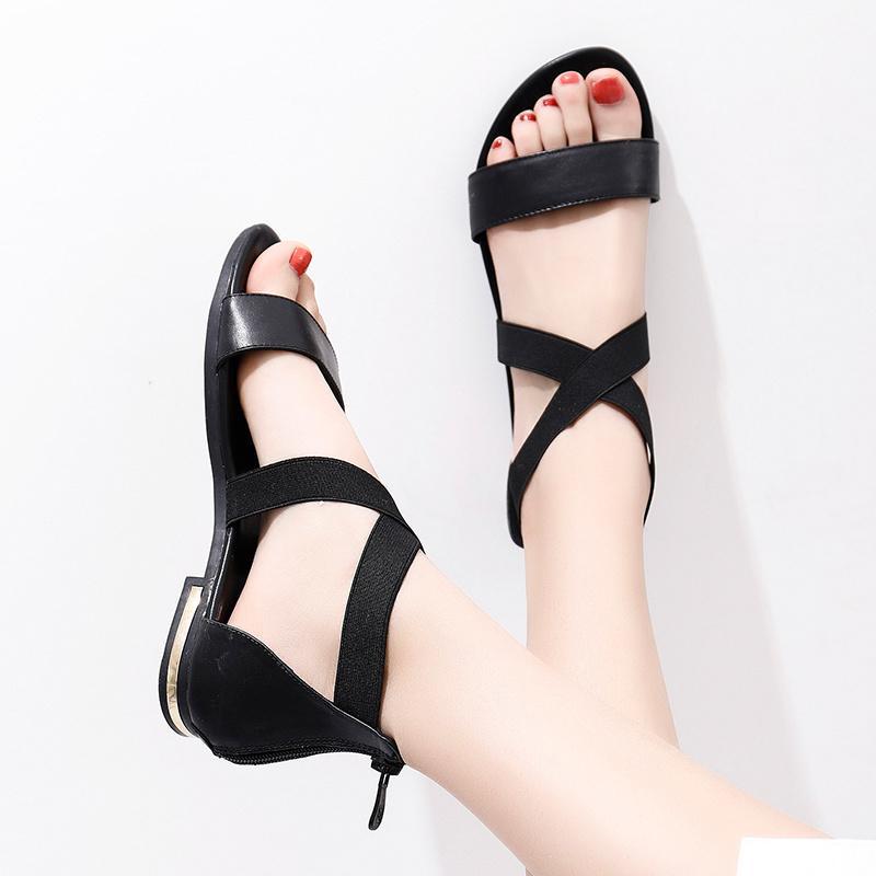 MORAZORA 2020 Gerçek Deri Sıcak Satış Moda Yaz Sweet Kadınlar Flats Topuk Sandalet Bayan Ayakkabıları Siyah MX200407
