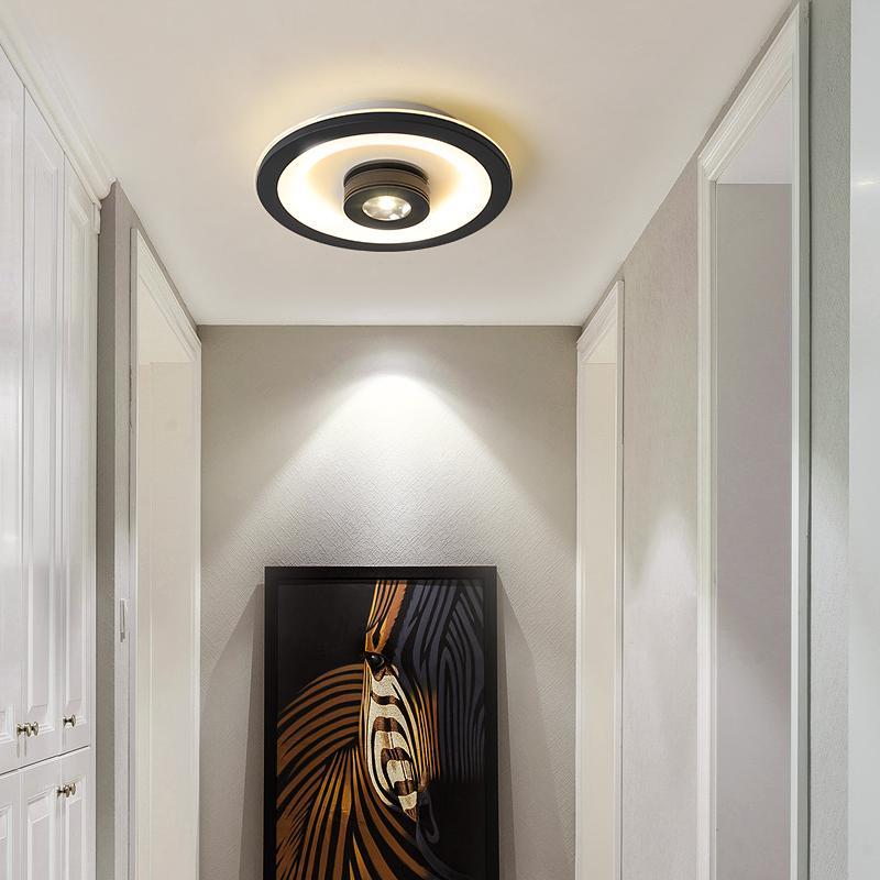 22cm 현대 흰색 또는 검은 색 90-260V 라운드 로비 상점 carridor 로비에 천장 조명을 LED / 광장 천장 램프