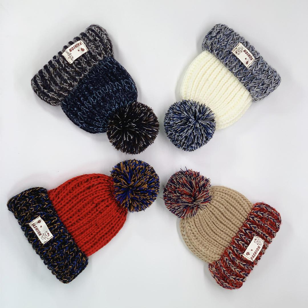 4Styles Contrast color knitted hat winter warm fur ball Hats kids baby Outdoor Caps wool party christmas gift favor FFA2862-3