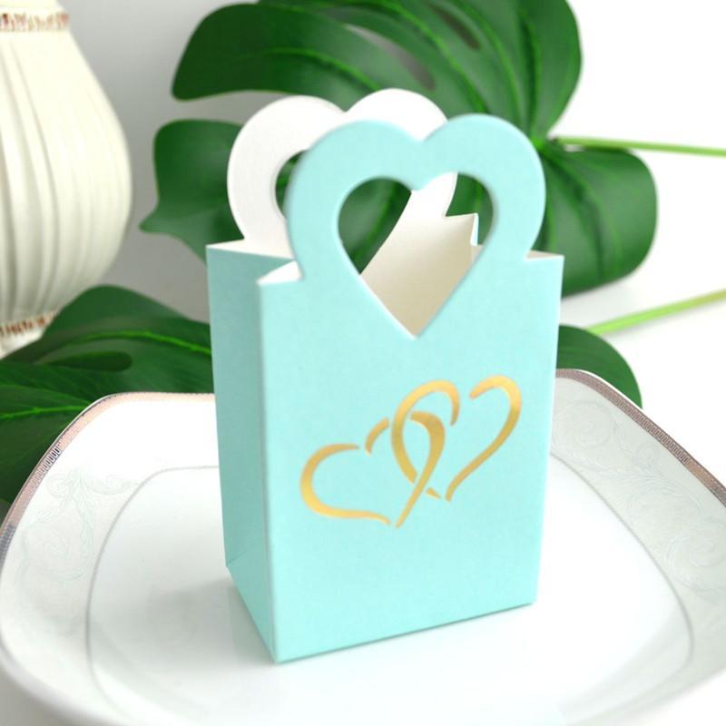 Diy جديد 50 قطع الذهب البسيطة القلب الزفاف الديكور لطيف مربع جميل مزدوج الشظية القلب اليد حقيبة صغيرة حزب الإحسان هدية مجوهرات