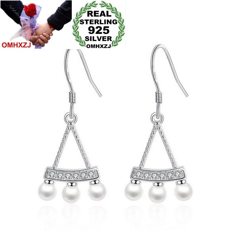 OMHXZJ Wholesale Jewelry lovely Fashion Vintage joker Star for Woman Gift Pearl Fan 925 Sterling Silver drop Earrings YS220