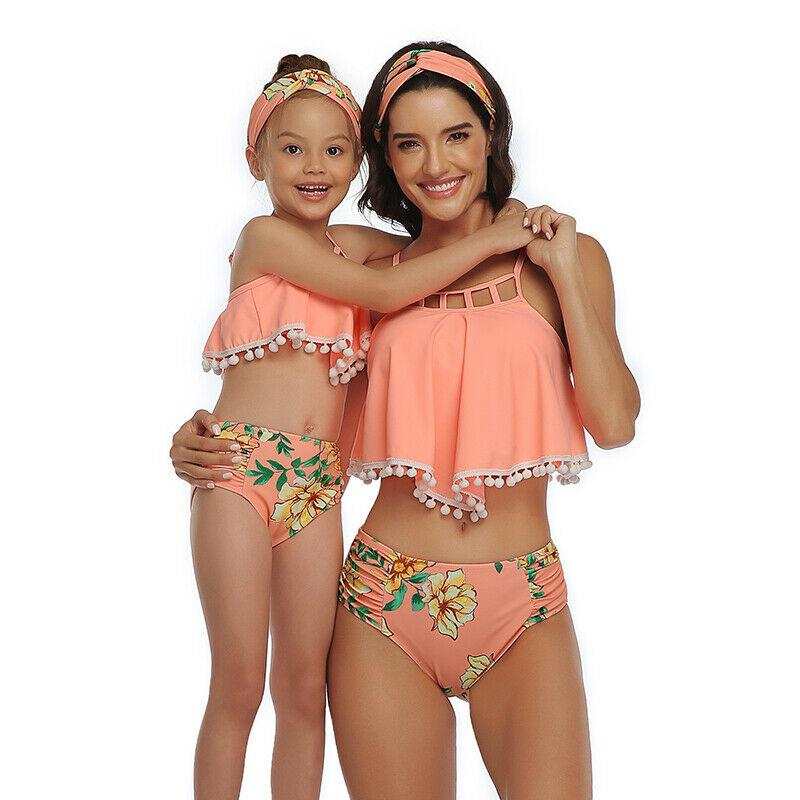 Mother and Daughter Swimsuit Two Bikini Suits Family Matching Swimsuit and Styles