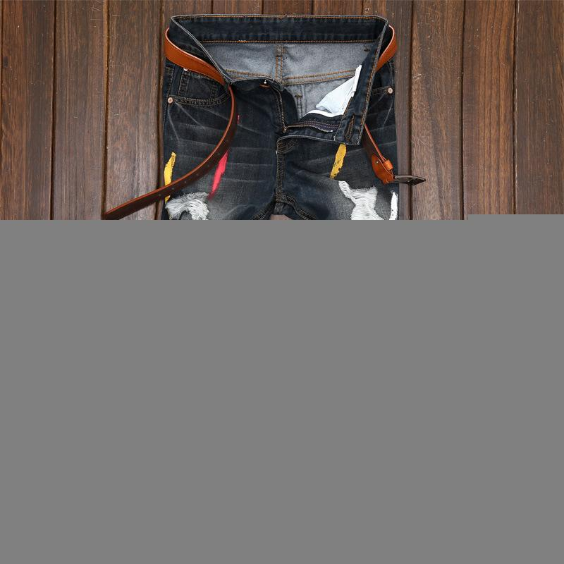 Sonbahar Erkek Casual Delik Jeans Vintage Düz Lüks Baskı İnce Pantolon Pamuk Seksi Hip Hop Kalem Pantolon Kot Erkekler 28-42