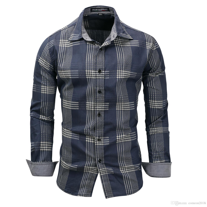 Mens Designer shirts 2019 New Spring Men's 100% Cotton plaid shirt Casual Long Sleeve Shirt Denim style Washed mens dress shirts FM119