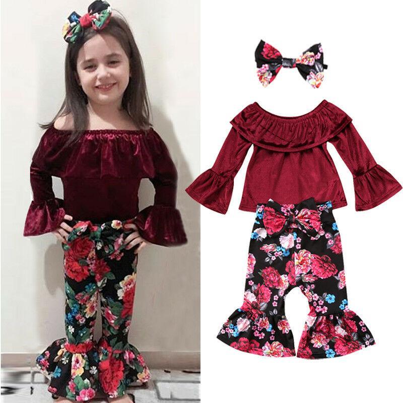 3шт малыш дети девушки цветочные одежды набор младенческой ребенок с длинным рукавом топы футболка вспышки + брюки + головные уборы наряд наборы 0-24 м