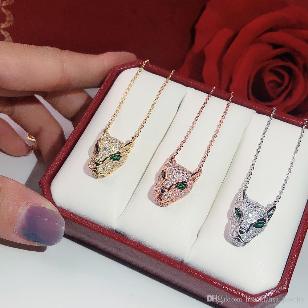 S925 الفضة ليوبارد طباعة قلادة الجودة شعبية عالية الأزياء حزب مجوهرات للنساء الفاخرة النمر مجوهرات الزفاف قلادة ليوبارد