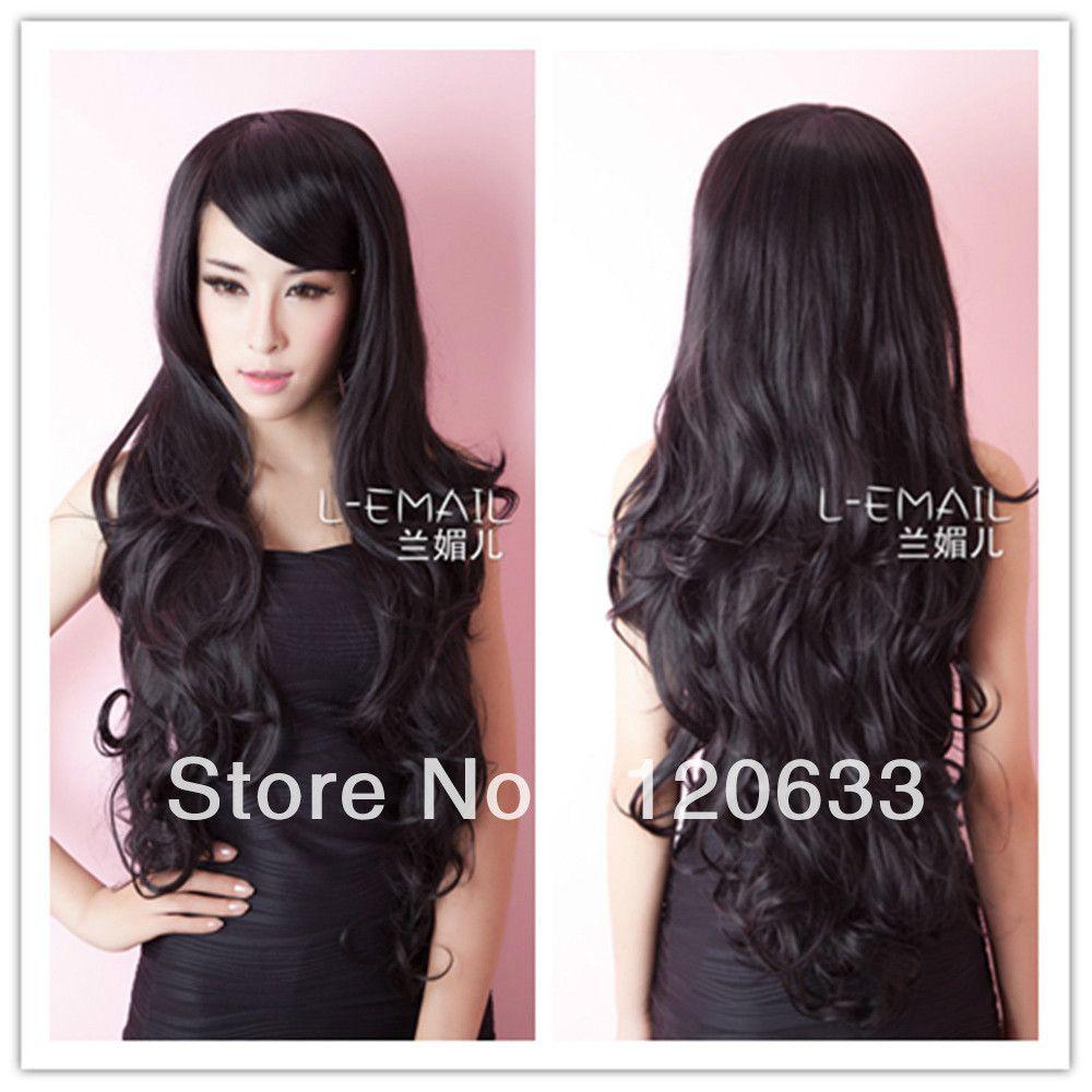 wow ! women's no lace Kanekalon hair Bang Cosplay wigs 75cm Gothic Lolita Black Long Wavy fluffy Animation cosplay cos hair Wig