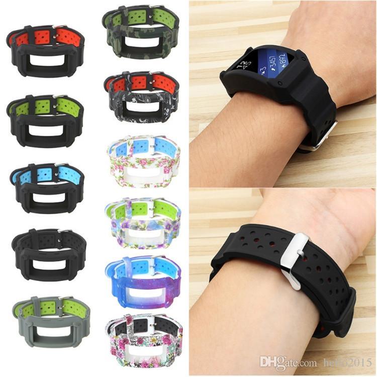 Pulseira de silicone faixa de pulso cinta com substituição de quadro de proteção para samsung engrenagem fit2 r360 / fit2 pro r365 pulseira de faixa de relógio inteligente