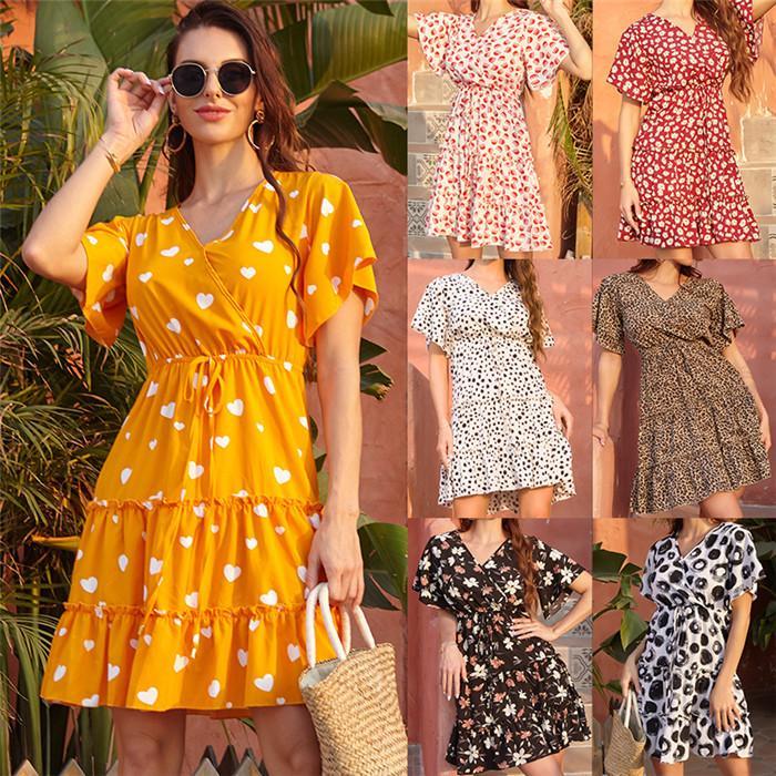 Frauen Retro V-Ausschnitt-Kleid Entwerfer-Sommer-Kurzschluss-Hülsen-hohe Taillen-Blumen beiläufige Kleider Famale lose Kleidung